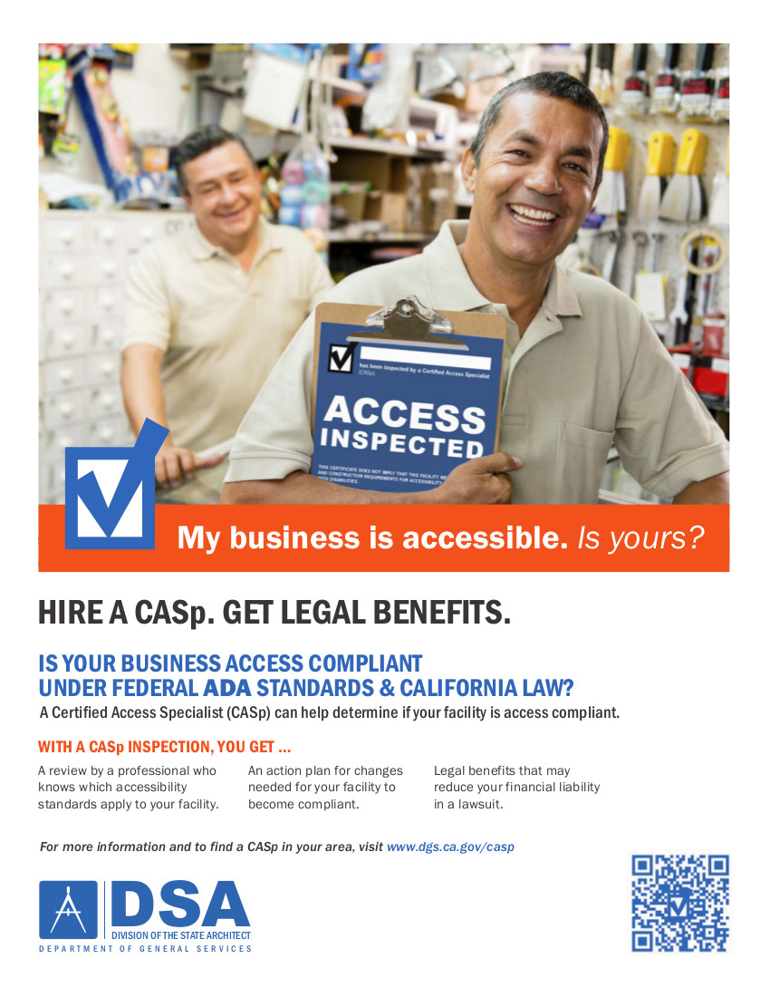 DSA Brochure - Hire a CASp. Get Legal Benefits
